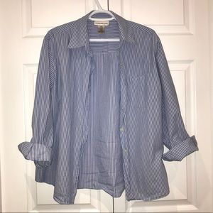 Blue and White Strip Oversized Button Up Shirt